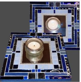 Mozaiek Spiegel/Waxinehouder Blauw 010