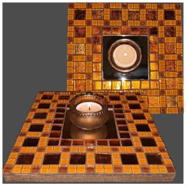 Mozaiek Spiegel/Waxinehouder Oranje 014