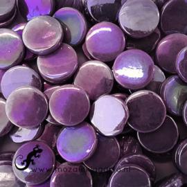 Glastegel Rond 18 mm Parelmoer per 50 gram Paars 085P