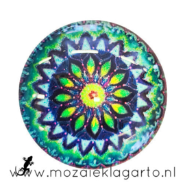 Cabochon/Plaksteen Glas 30 mm Mandala Blauw-Groen-Aqua 5012