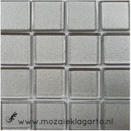 Metaalglans 2x2 cm per 16 tegels Zilver 002