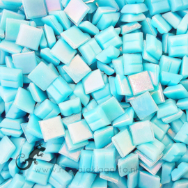 Mozaiek glastegeltjes 1 x 1 cm Parelmoer Aqua 012