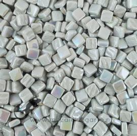 Mozaiek tegeltjes glas 8 x 8 mm Parelmoer per 50 gram Pastel Grijs 042P