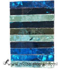 Tiffany Spiegelglas reepjes 1x6.5 cm per 10 Aqua/Zeegroen 016