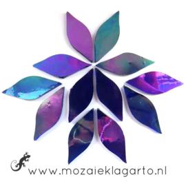 Bloemblaadjes Tiffanyglas 15x38x3 mm per 12 Indigo Iriserend 025-1