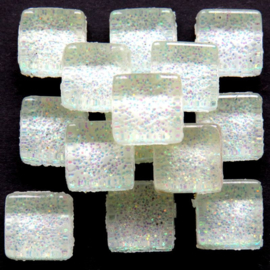 Glasmozaiek glitter 1 x 1 cm per 50 gram Wit 90-10