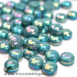 Glasdruppel Rond 12 mm per 50 gram Parelmoer Donker Zeegroen 016P
