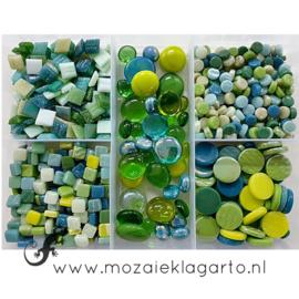 Glasmix in sorteerdoos 500 gram Mix Groen 500-3