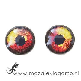 Cabochon/Plaksteen Oogjes per 2 Rood/Geel/Zwart 308-15