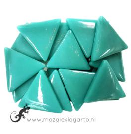 Glasmozaiek Driehoek 29 mm per 100 gram Zeegroen 014