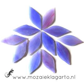 Bloemblaadjes Tiffanyglas 15x38x3 mm per 12 Paars/Roze 033-1