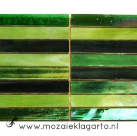 Tiffany glas reepjes 1x6.5 cm per 10 Groen 006