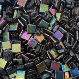Mozaiek glastegeltjes 1 x 1 cm Parelmoer Zwart 048