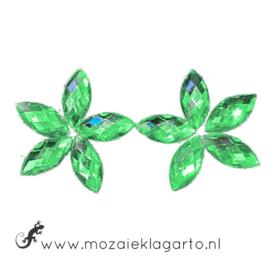 Decoratiesteen kunststof  7x15 mm Ovaal Facet per 10 Groen 1403