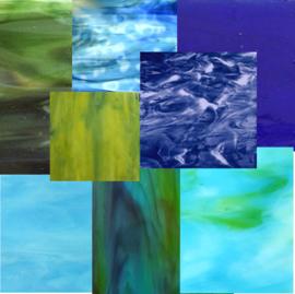 Glasplaten/Glasscherven Blauw - Groen