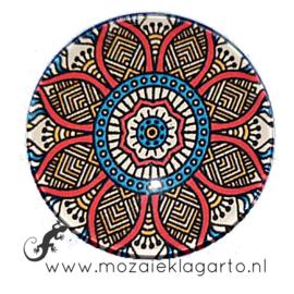 Cabochon/Plaksteen Glas 30 mm Mandala Rood - Wit - Blauw 40216
