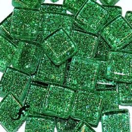 Glasmozaiek glitter 1 x 1 cm per 50 gram Groen 82-10