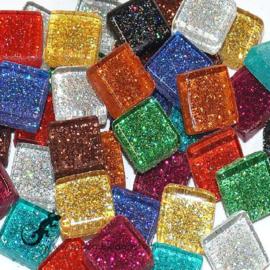 Glasmozaiek glitter 1 x 1 cm per 50 gram Bonte mix 300