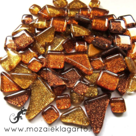 Glas Puzzelstukjes Glitter  Mix 100 gram Koper/Goud 876