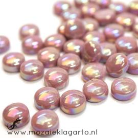 Glasdruppel Rond 12 mm per 50 gram Parelmoer Roze 035P
