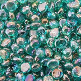Glas Nugget Mini 9-13 mm Transparant Iriserend 50 gram Zeegroen 4389
