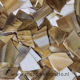 Gekleurde glasscherven Semi Translucent Karamel/Wit Y317-60st