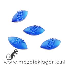 Decoratiesteen kunststof  8x16 mm Ovaal Strass per 10 Blauw 15342