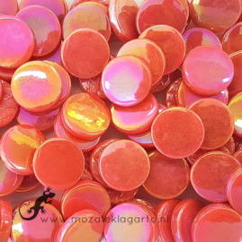 Glastegel Rond 18 mm Parelmoer per 50 gram Oranjerood 106P