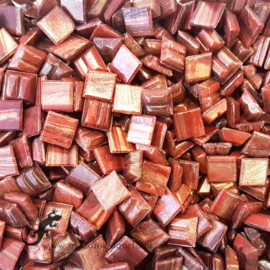 Mozaïek glastegeltjes 1 x 1 cm Goudader per 50 gram Bordeaux Rood 076