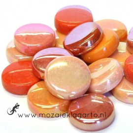 Glastegel Rond 20 mm per 100 gram Oranje Mix 007