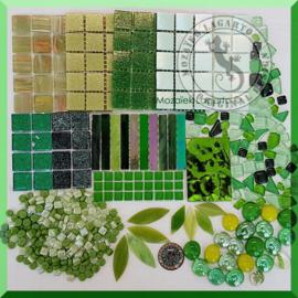 Mozaiekglas mix Groen in cadeautasje  25-5