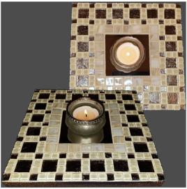 Mozaiek Spiegel/Waxinehouder Crème 020