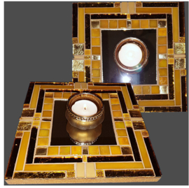 Mozaiek Spiegel/Waxinehouder Warm Geel 019