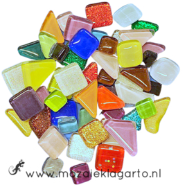 Mozaiek puzzelstukjes Soft Glas 100 gram Bonte Mix 300