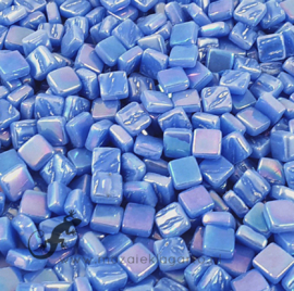 Mozaiek tegeltjes glas 8 x 8 mm Parelmoer per 50 gram Blauw 066P