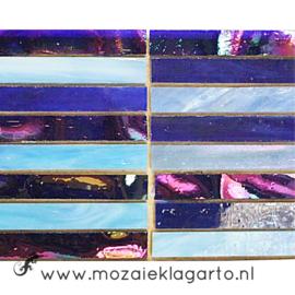 Tiffany glas reepjes 1x6.5 cm per 10 Blauw 001