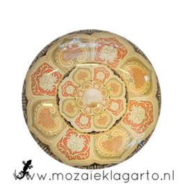 Cabochon/Plaksteen Glas 30 mm Mandala Crème-Bruin-Oranje 5008