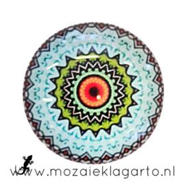 Cabochon/Plaksteen Glas 30 mm Mandala  Aqua-Oranje 5013