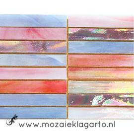 Tiffany glas reepjes 1x6.5 cm per 10 Roze/Paars 010