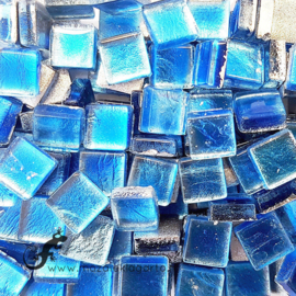 Glasmozaiek folie 1 x 1 cm per 50 gram Aqua 1002