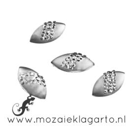 Decoratiesteen kunststof  8x16 mm Ovaal Strass per 10 Zilver 15339