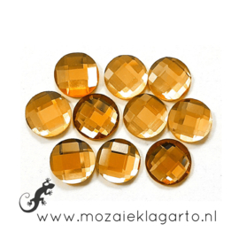 Glas facet geslepen rond 12 mm per 10  Bruin 607