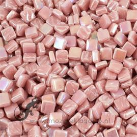 Mozaiek tegeltjes glas 8 x 8 mm Parelmoer per 50 gram Roze 035