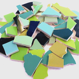 Mozaïek tegelscherven voor BINNEN per 750 gram Groene mix