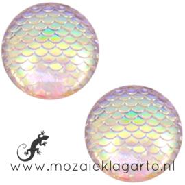 Decoratiesteen kunststof Holografisch 12 mm per 5 Roze/Wit 58601