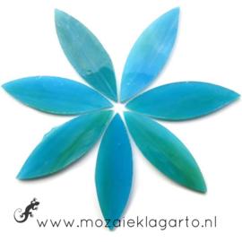 Bloemblaadjes Tiffanyglas 16x50x3 mm per 7 Licht Zeegroen 104-2