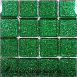 Glitter 2x2 cm per 16 tegels Groen 044