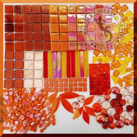 Glasmozaiek mix Oranje in cadeautasje  25-6