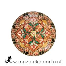 Cabochon/Plaksteen Glas 30 mm Mandala Bruin-Oranje-Roze 5005