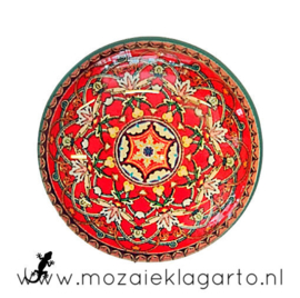 Cabochon/Plaksteen Glas 30 mm Mandala Rood-Lichtgeel 5001